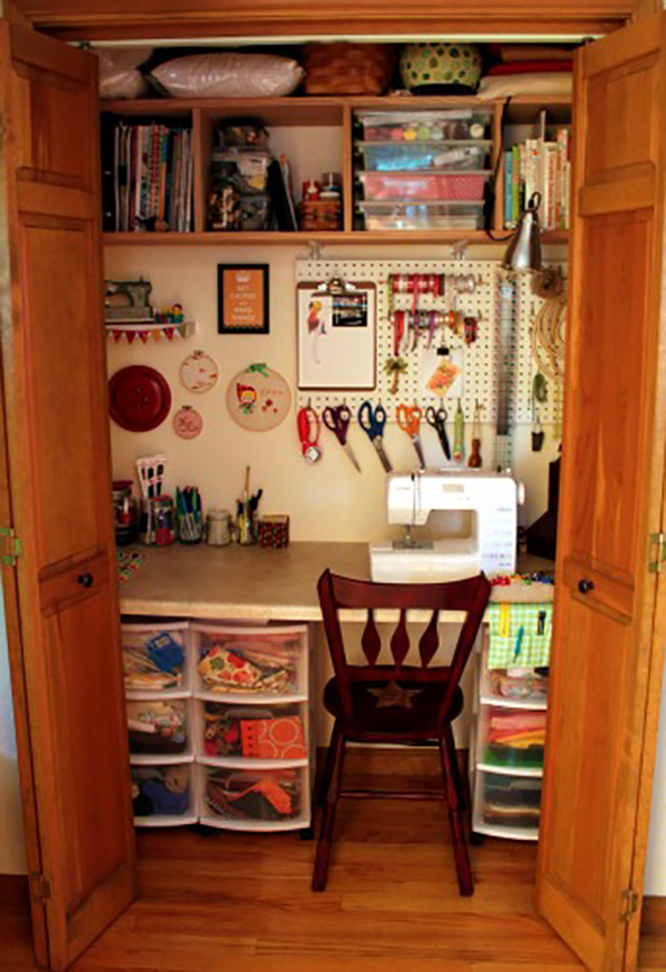 Inspiring Small Sewing Closets