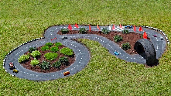 Make a car race track in your yard!