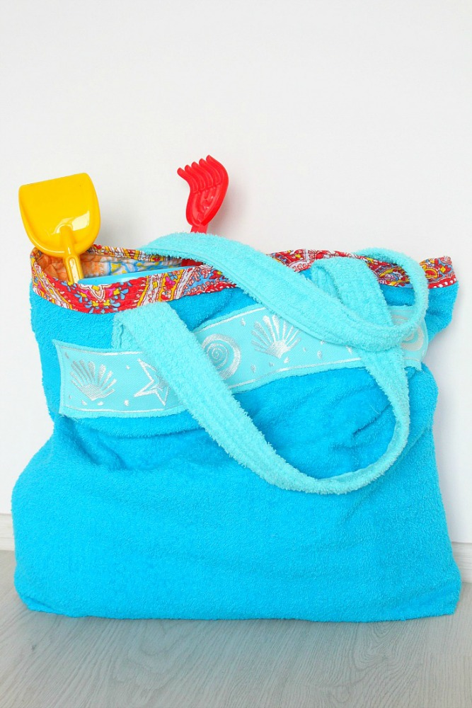DIY beach towel bag
