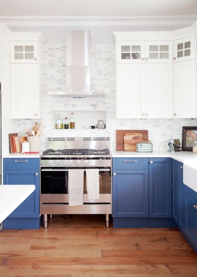fresh blue and white kitchen cabinets
