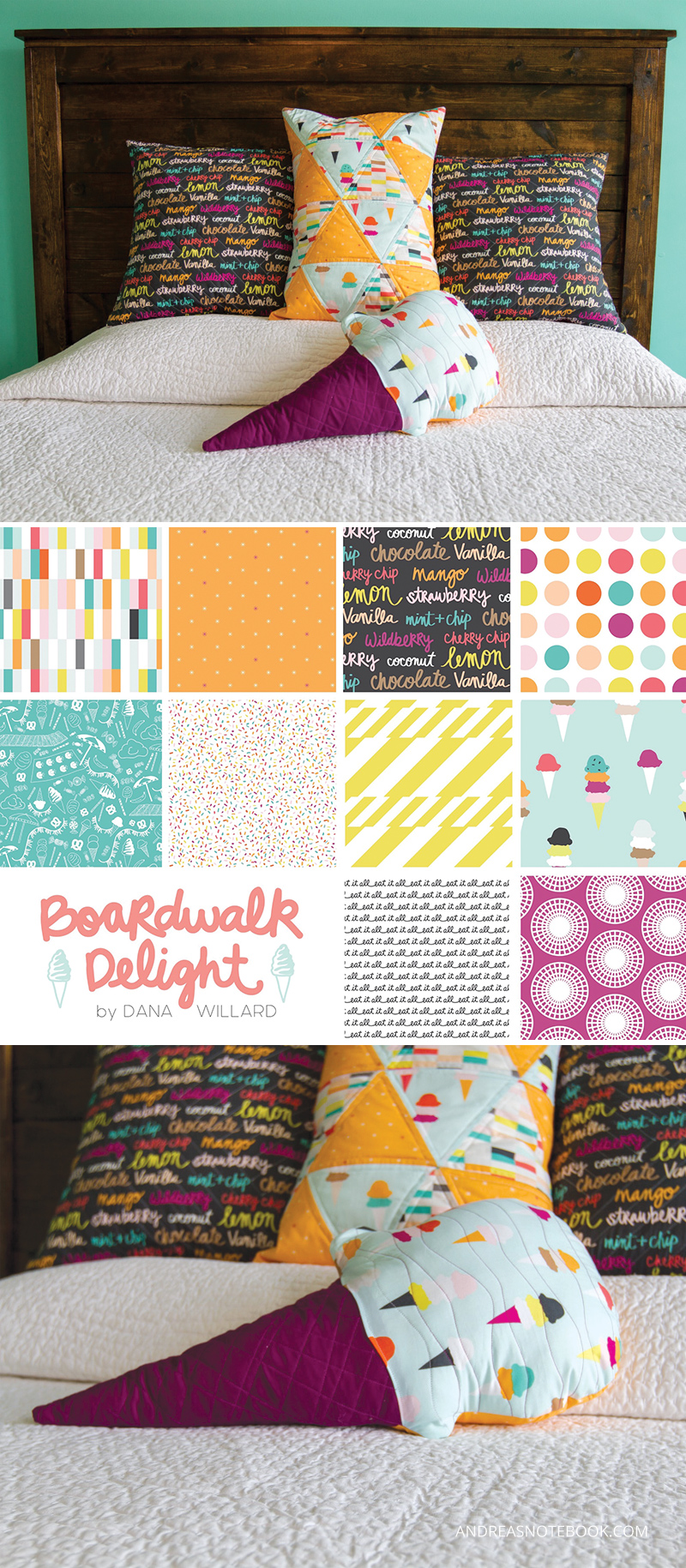 DIY quilted pillows - andreasnotebook.com - Boardwalk Delight fabric