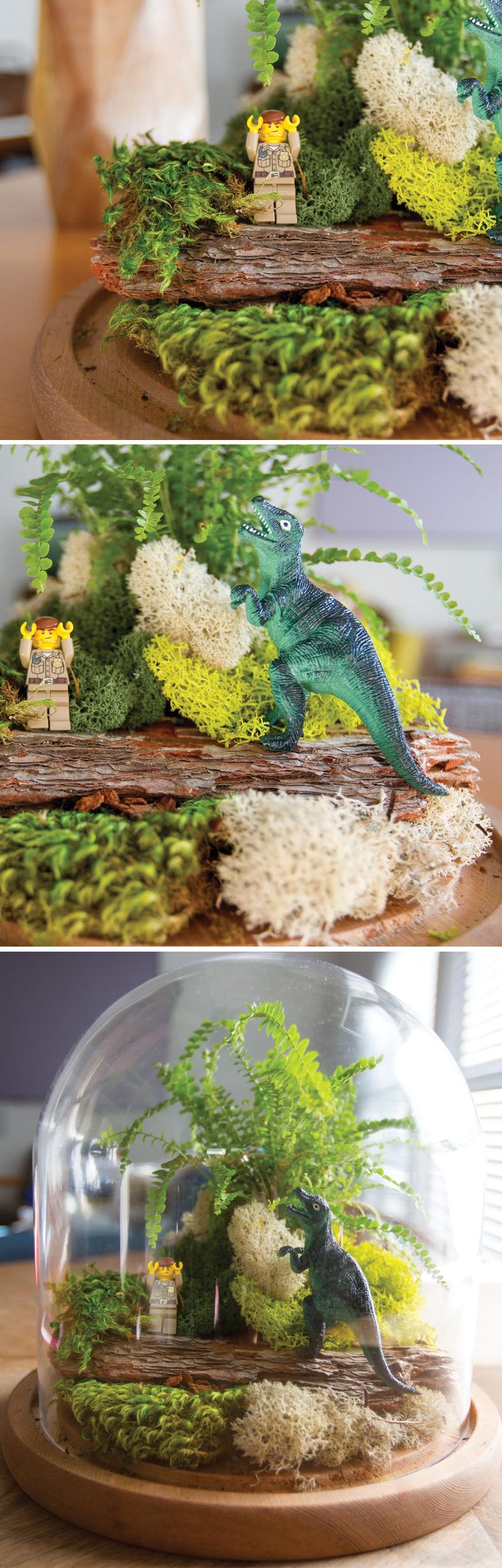 How to make a LEGO dinosaur fairy garden