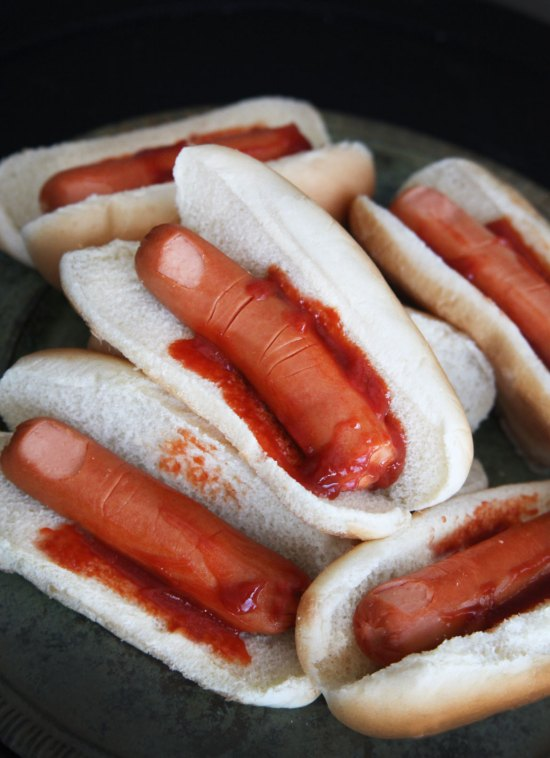 Halloween Hot Dogs - Bloody Finger Hot Dog