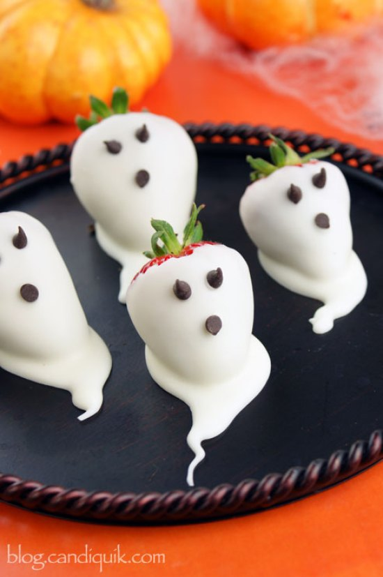 White Chocolate Covered Strawberries - Ghost Strawberries