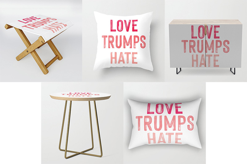 love trumps hate stool side table pillow credenza