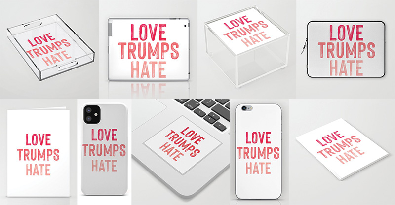 Love Trumps Hate office supplies iphone case