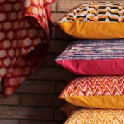 bright stacked pillows