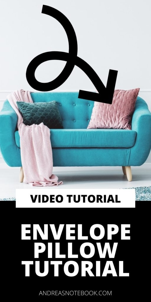 blue mid century modern sofa with pillows - text says learn to sew envelope pillow tutorial