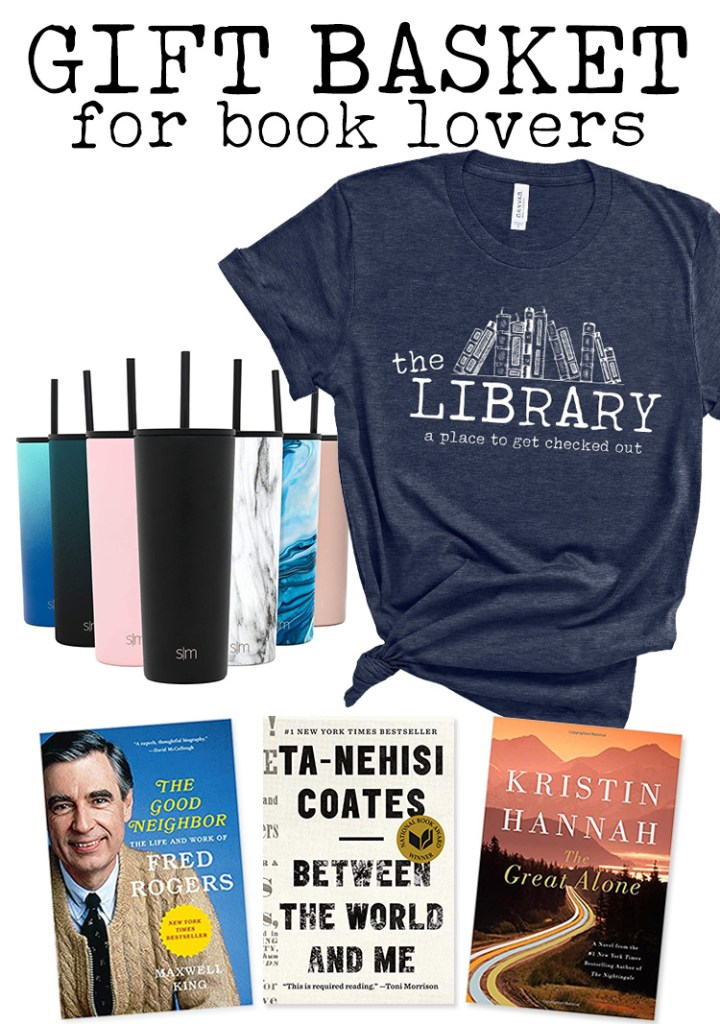 gift basket for book lovers library blue shirt straw water bottle books