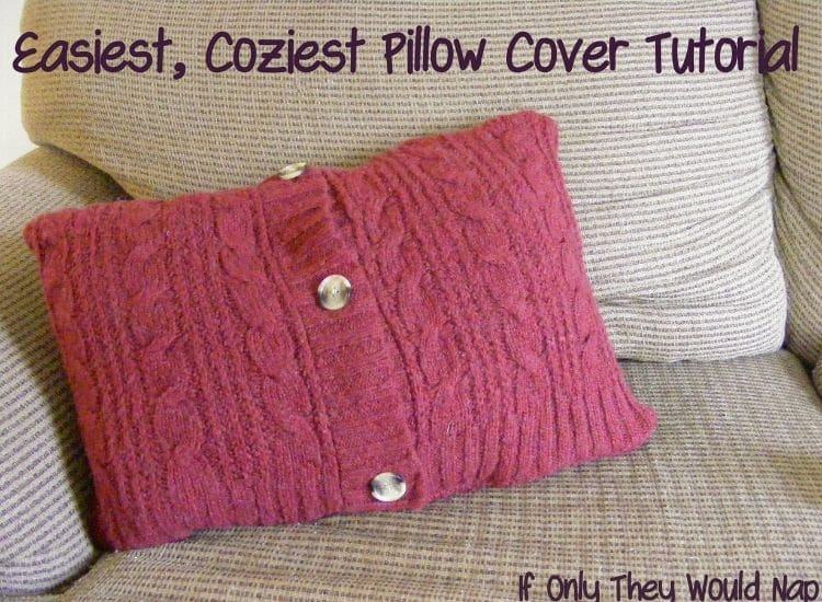 red pillow make from sweater knit fabric with buttons up the front on a beige sofa