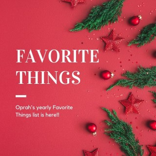 Oprah's Favorite Things red background with holly leaves