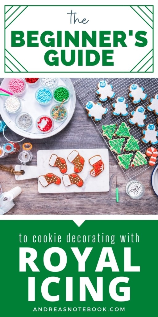 how to do royal icing - christmas shaped cookies decorated with royal icing - title says beginner's guide to decorating cookies with royal icing
