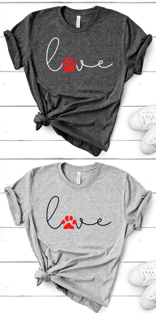 "two t-shirts with ""love"" on the front with the ""o"" replaced with a red dog print"