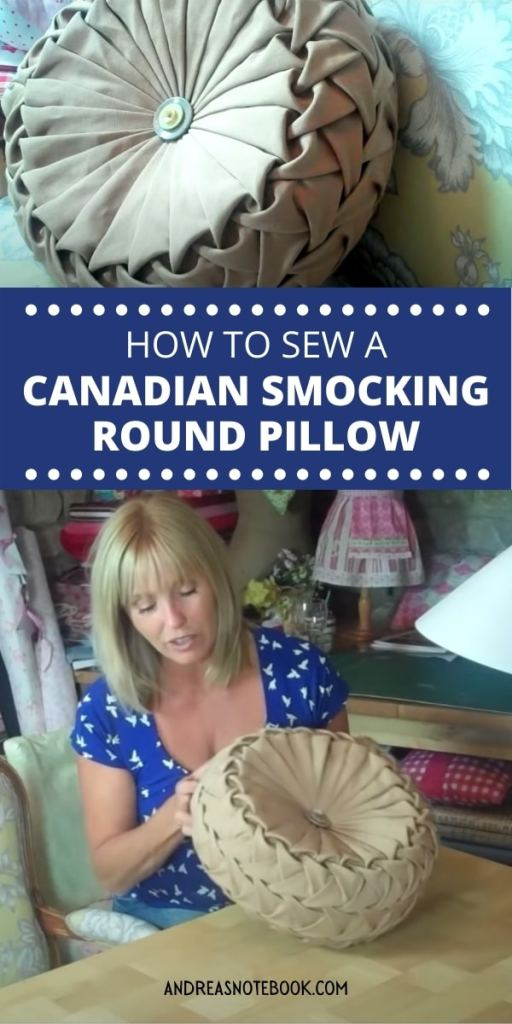 woman holds cushion with canadian smocking - text says learn how to sew canadian smocking round pillow