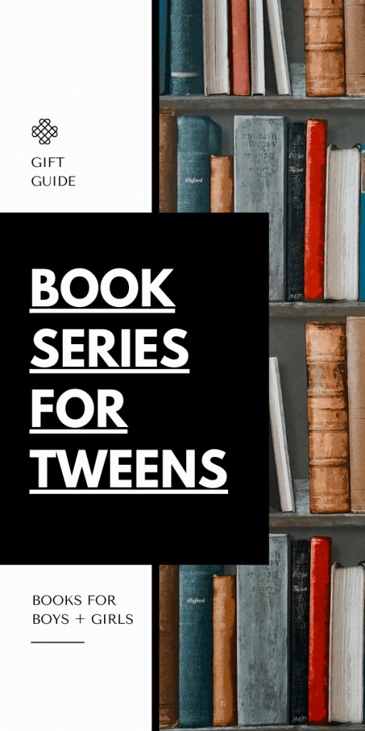 text reads book series for tween in bold black font - photo of books on shelf
