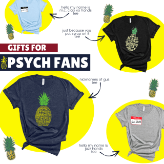 Psych TV show t-shirts on white background with yellow circles behind them