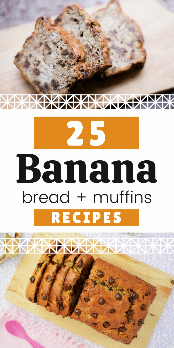 banana bread and muffin photo collage with text that says banana bread + muffins recipes