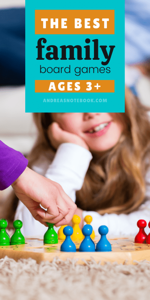 kids playing a board game and white die | text says ages 3+ the best family board games