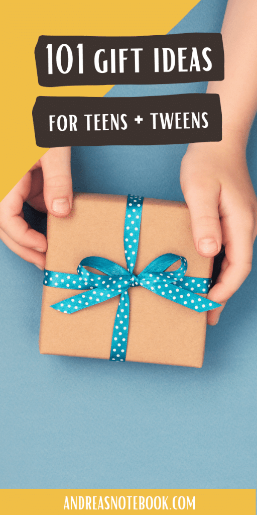 blue background with brown wrapped gift held by hands. - text says 101 gifts for teens and tweens