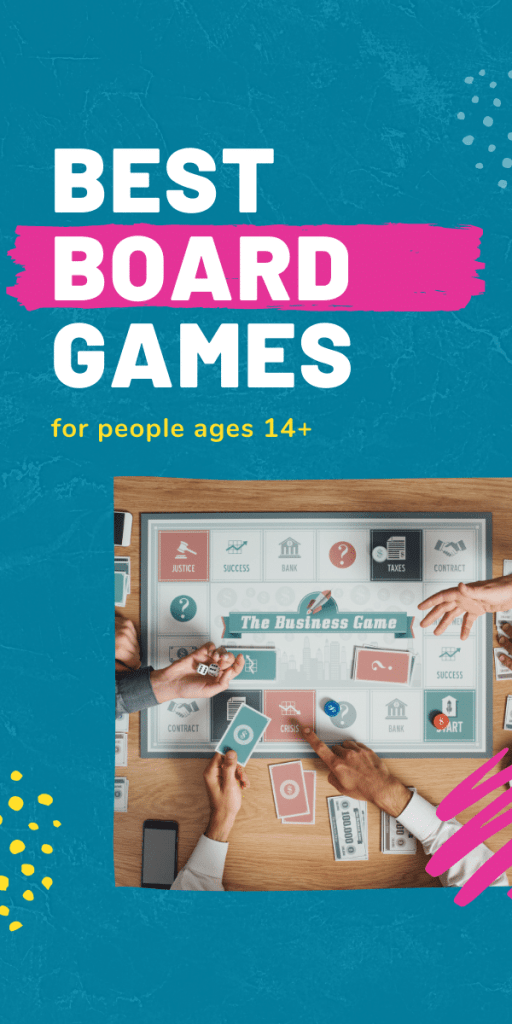 text: best board games for ages 14 and up | image: game play