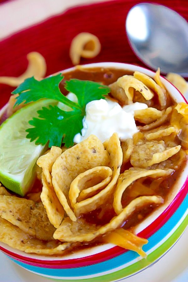 taco soup with fritos on top