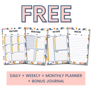 FREE daily, weekly, monthly PRINTABLE planner pages + bonus journal page