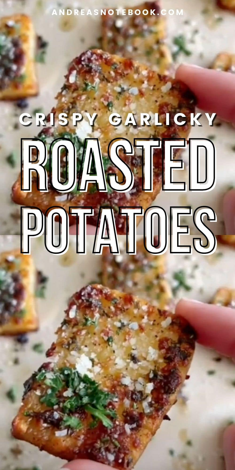 TEXT: crispy garlicky roasted potatoes IMAGE: closeup of potato squares with buttery parmesan potato and parsley.