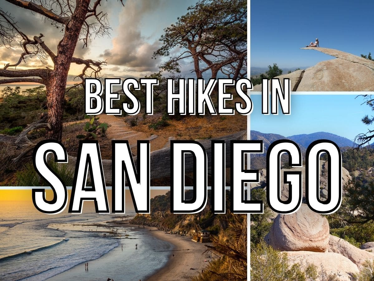 text: best hikes in san diego: 4 images - torrey pines hike, potato chip rock hike, beach hikes and a dessert hike with rocks
