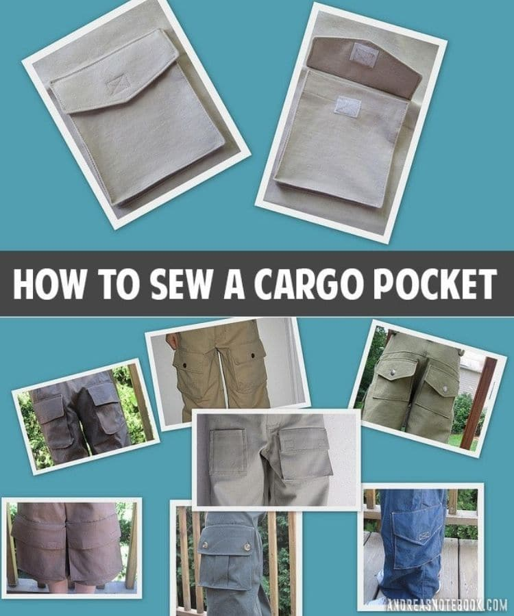 9 images of cargo pockets on pants close up