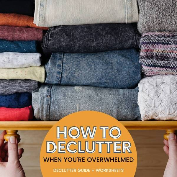 image of open clothing drawer with folded clothes inside. Text on image: how to declutter