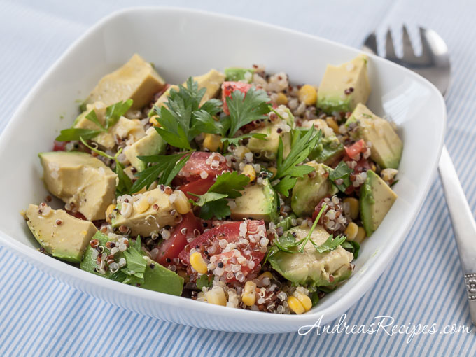 Quinoa Avocado Salad with Parsley, Corn, Tomatoes, and Lemon Vinaigrette - Andrea Meyers