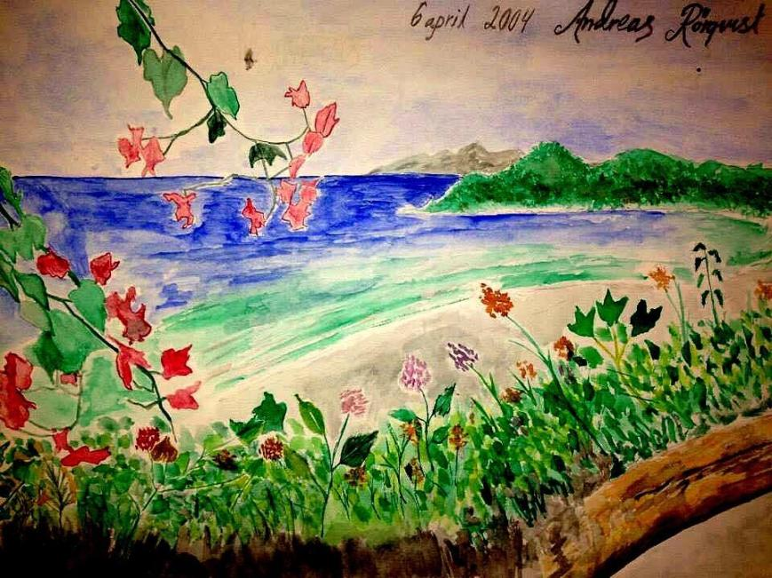Medelhavet, Kust, Andreas Rörqvist, Hav, Gibraltar, Konst, Akrylmålning, Spanien