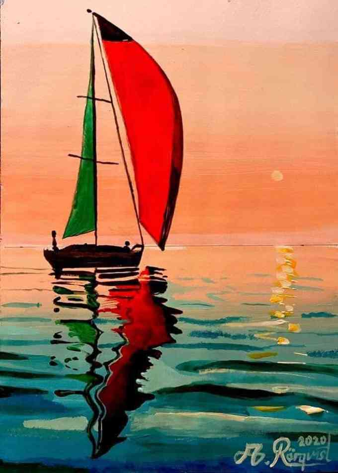 Segelbåt, Italien, Medelhavet, Andreas Rörqvist, Konst, Akrylfärg
