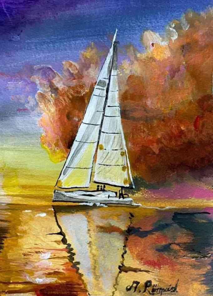 Segelbåt, USA, Golden Sunset, Andreas Rörqvist, Konst, Akrylfärg