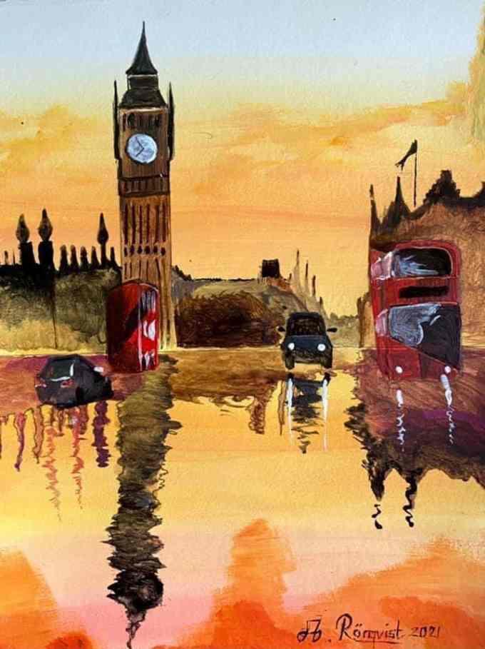 Storbritannien, London, England, Andreas Rörqvist, Konst, Akrylfärg, Big Ben