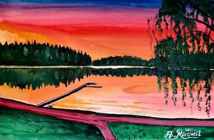 Konstnär Andreas Rörqvist Akrylfärg Målning