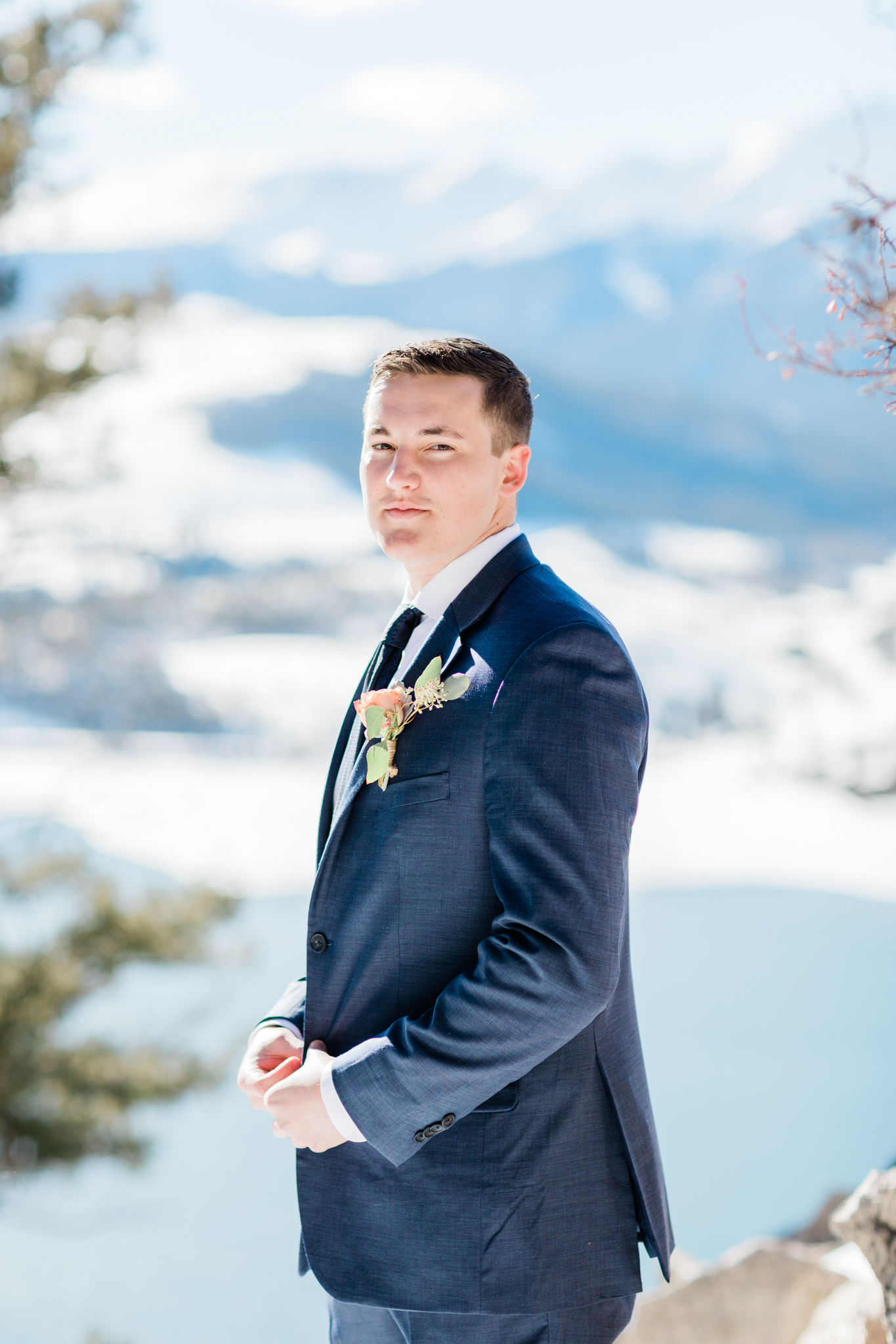 Sapphire Point Winter Wedding Colorado Groom