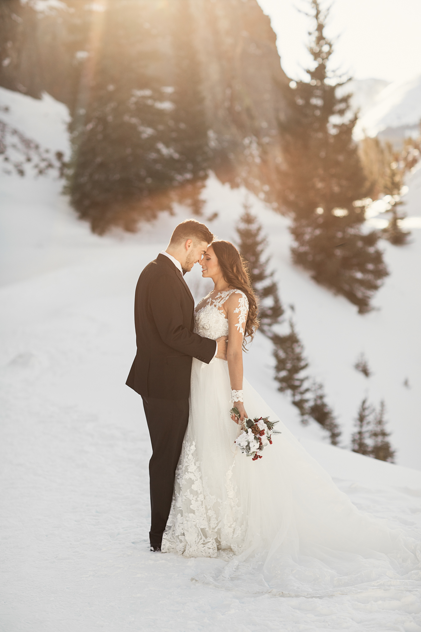 Taylor and Kenneth Winter Wedding Portraits Breckenridge CO