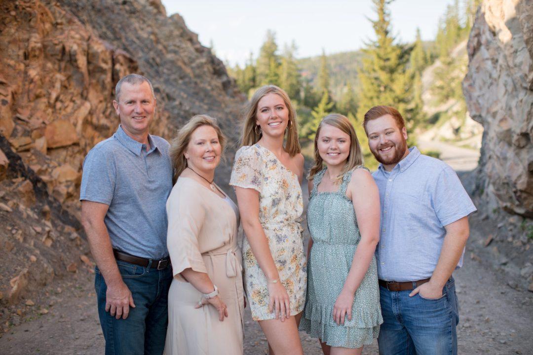 Boreas Pass Road rock tunnel family portrait in Breckenridge