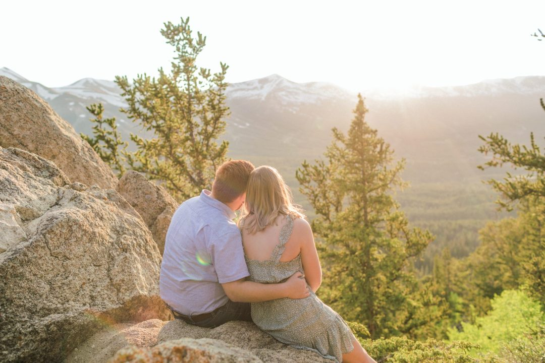 Sunset Engagement session in Breckenridge Colorado with an epic Mountain View