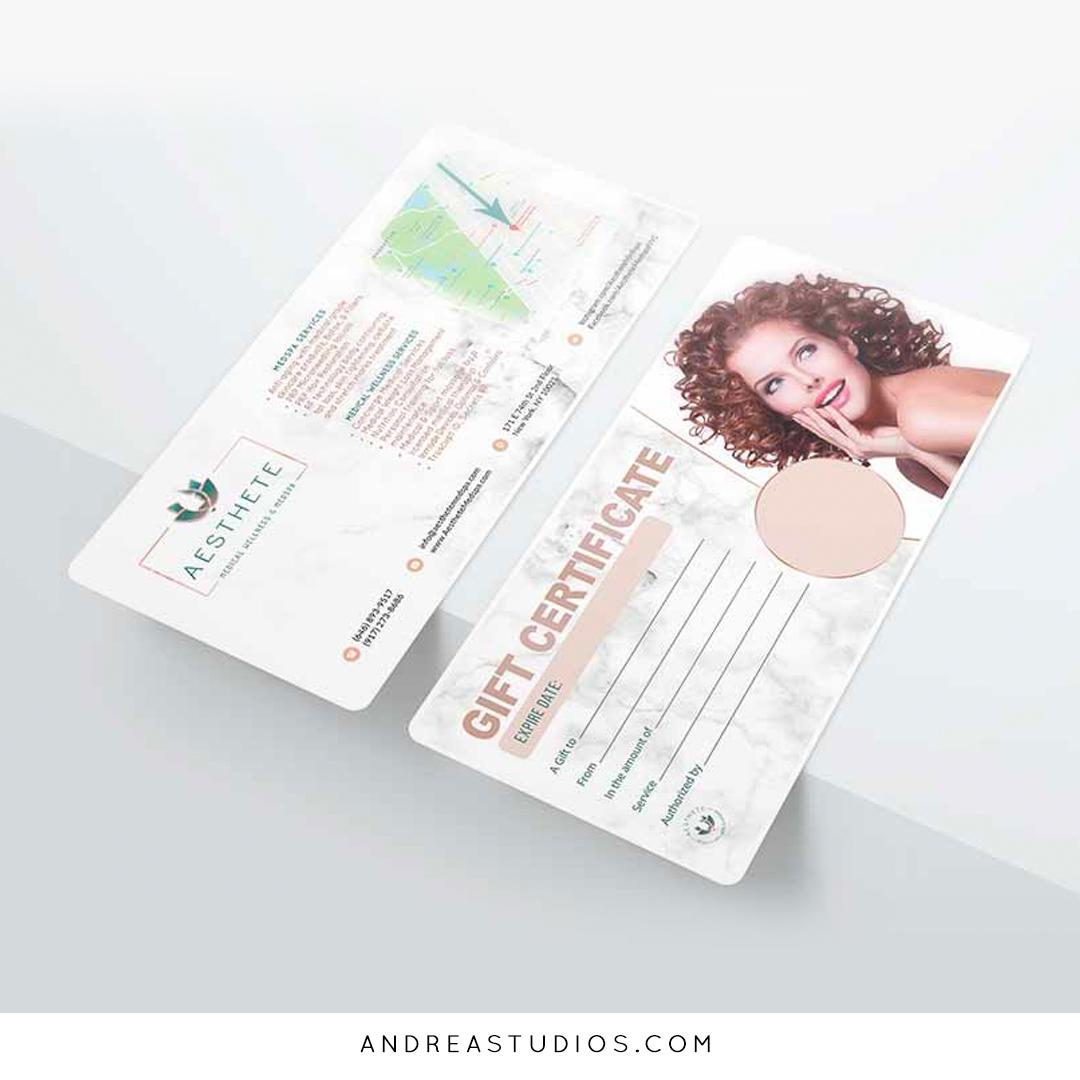 Gift Voucher Design and Printing for Aesthete Medspa