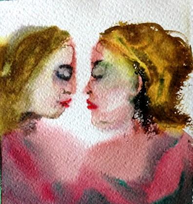 André Clouâtre, Tendresse 14, Aquarelle, 15 x 15 cm (6 x 6 po), 2013