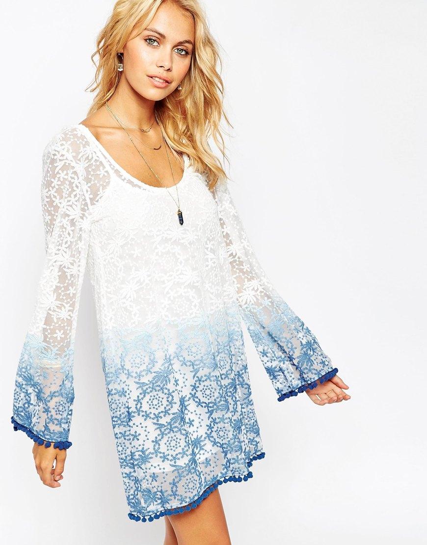 ASOS Ombre Lace Dress with Pom Pom Hem - €70.59