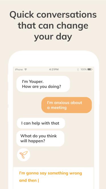 Youper mental health app conversations