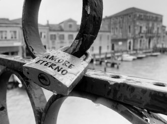 locks representing love - a common sight in Italian cities