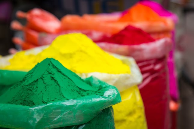 Holi celebrations - coloured paint