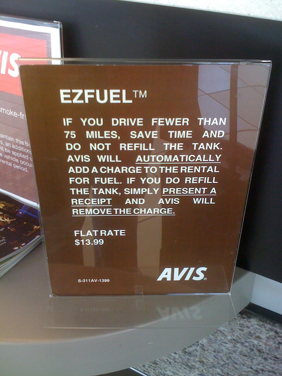 Avis EZFUEL Sign