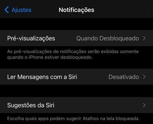 A imagem mostra o menu Notificações com a opção Pré-visualizações com o valor Quando Bloqueado, e com a mensagem logo abaixo: As pré-visualizações de notificações serão exibidas somente quando o iPhone estiver desbloqueado.
