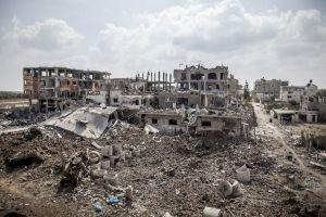 TOPSHOTSA general view shows destructio