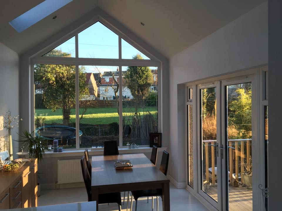 feature glass gable and velux roof windows